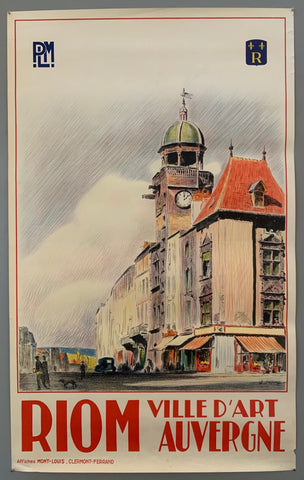 this beautiful street scene shows a clocktower side by side lots of busy shops and promenaders. The style of drawing looks like colored pencil and is very detailed. The border of the picture is red with the rest of the poster in white. The writing is in all caps in a bold red.