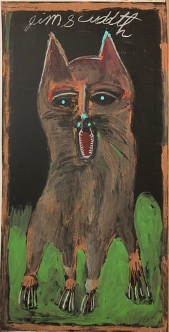 A painting of a howling brown dog.