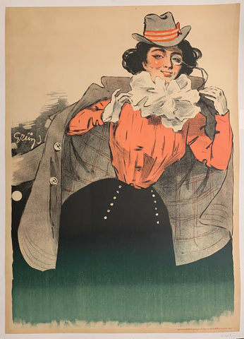 Turn of the Century poster of a woman with black hair wearing a monocle, a gray hat, a gray overcoat, a red blouse, and a black buttoned skirt.