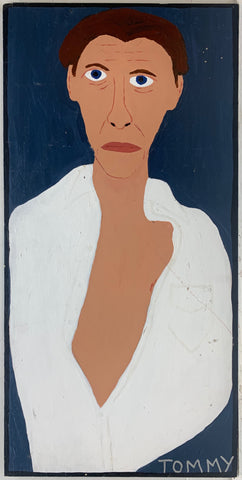 A Tommy Cheng portrait of Willem Dafoe in a half open shirt.