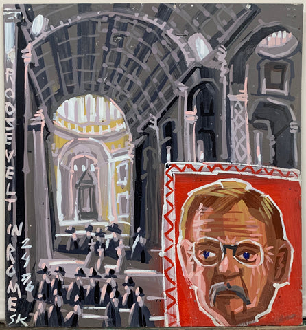 A Steve Keene painting of a black and white Roman Cathedral with a portrait of Theodore Roosevelt in the bottom right corner.
