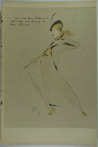 Lady in trench coat Lithograph