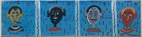 A painting by The Beaver divided into four quadrants, and inside of each is a portrait of different colored man.