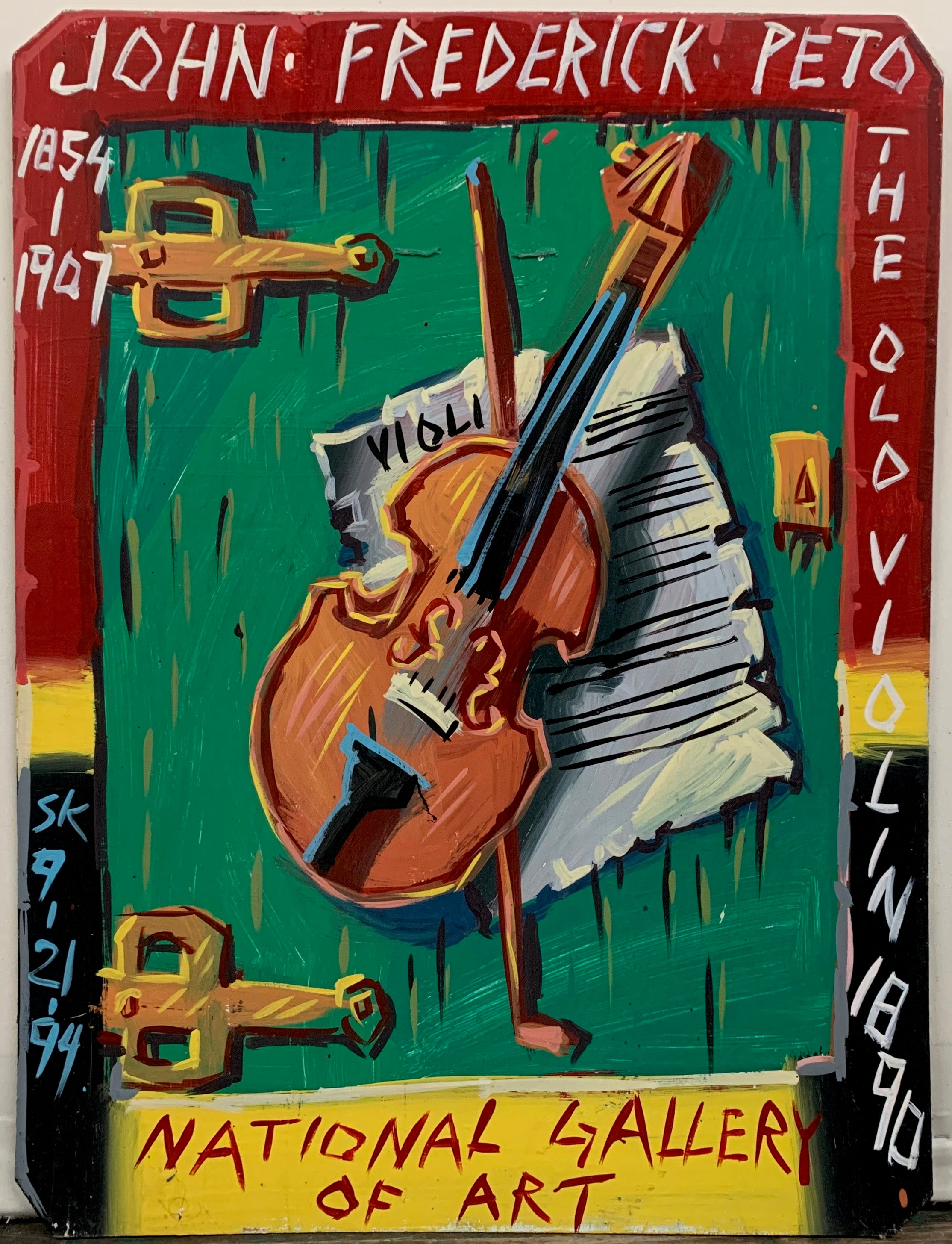 "A painting by Steve Keen of a recreation of John Frederick Peto's ""The Old Violin,"" showing a violin lying on a green door on top of sheet music."