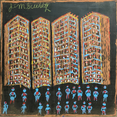 Colorful Apartments #11, Jimmie Lee Sudduth Painting
