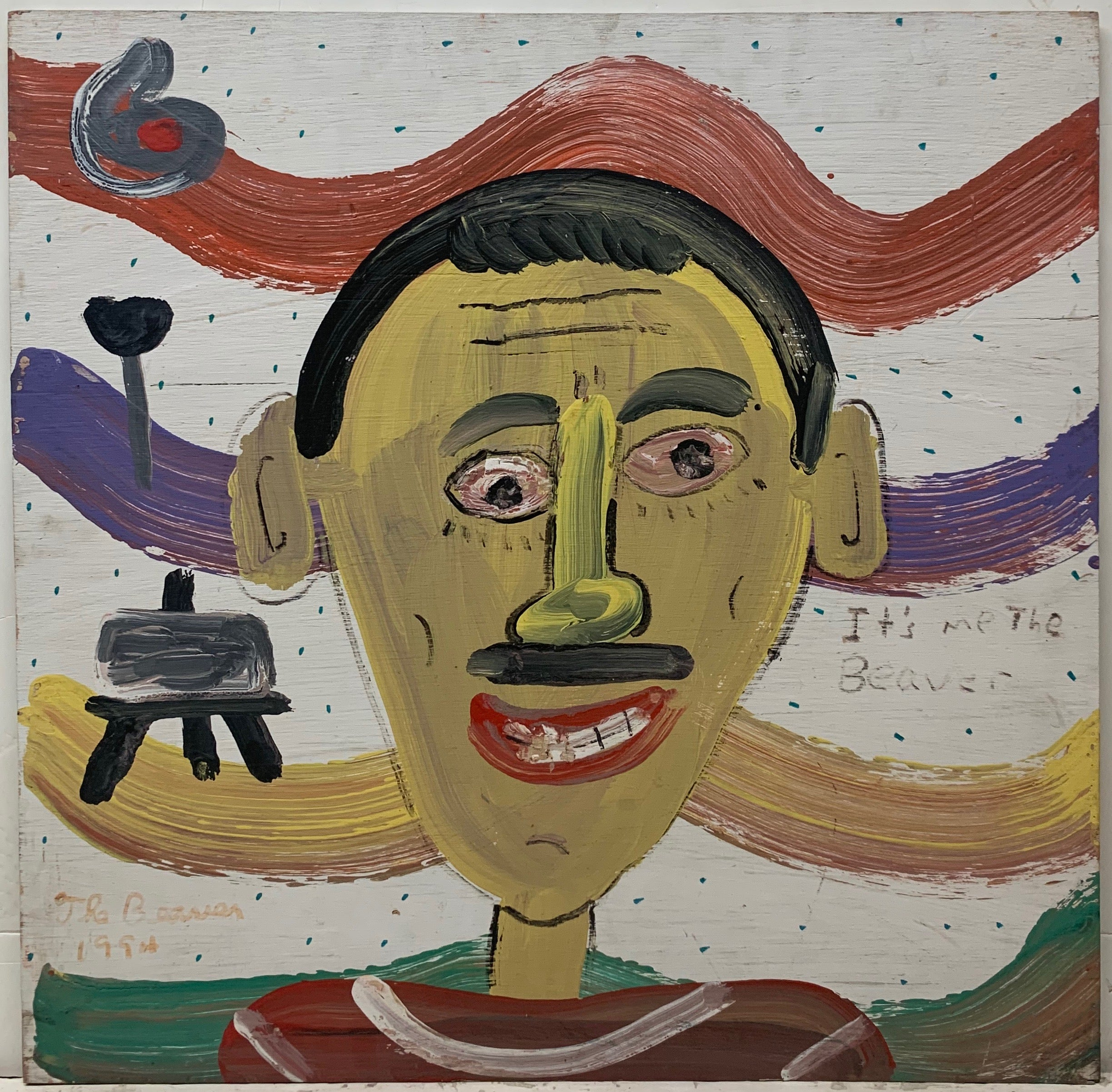 A self-portrait by the Beaver, set in front of a multi-colored, wavy background with an easel and the number six.