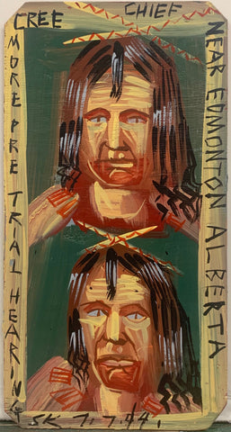 A Steve Keene painting of a portrait of two Native Americans.