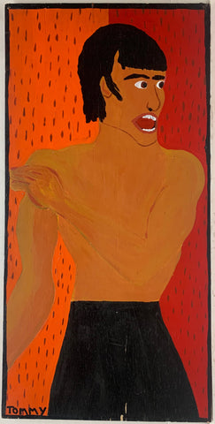 A Tommy Cheng portrait of Bruce Lee topless against a red background.