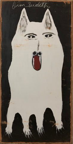 A painting of a white dog.