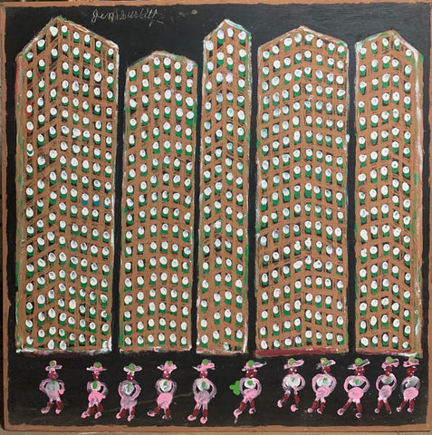 Apartments With Pink Ladies #14, Jimmie Lee Sudduth Painting