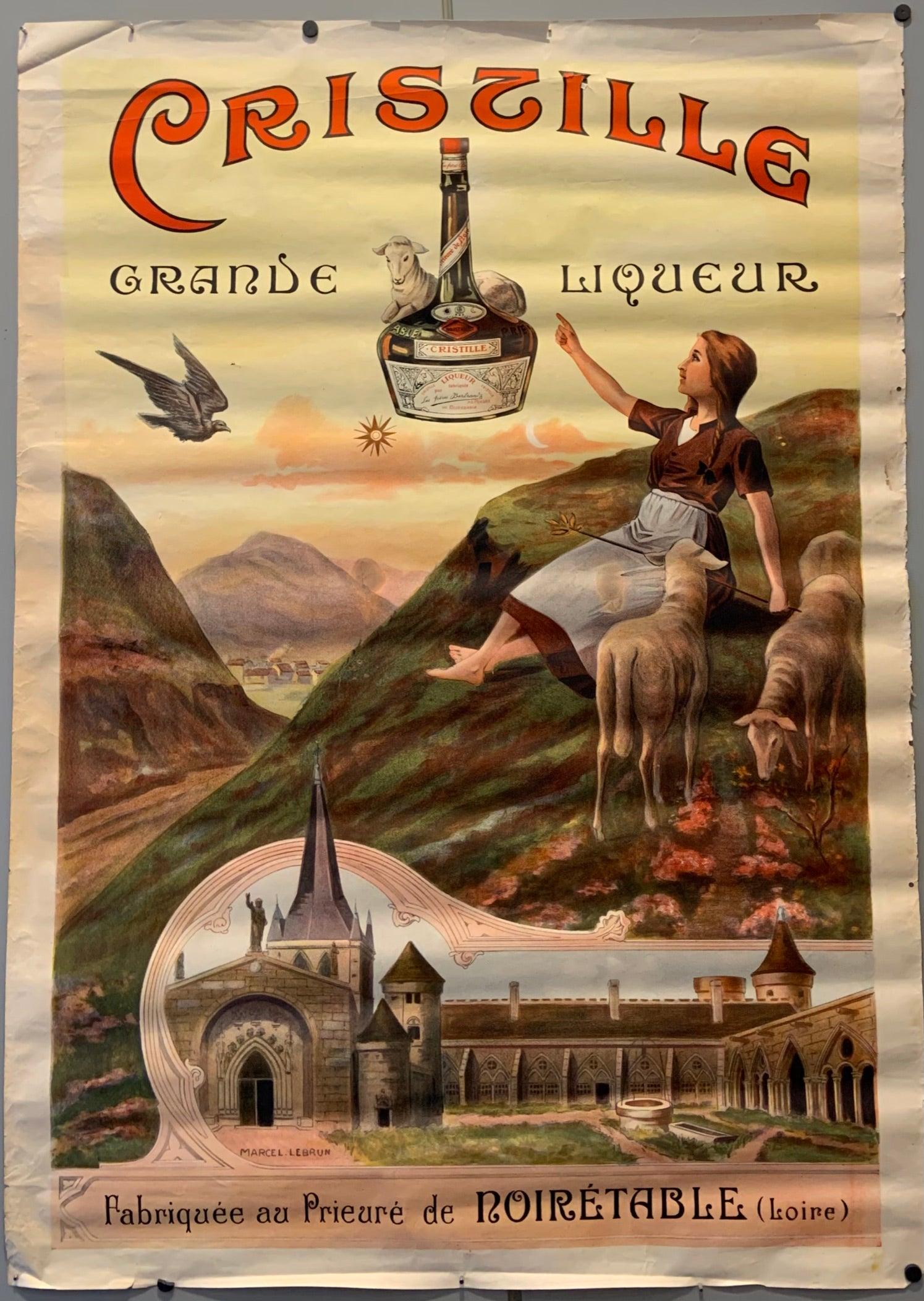 Poster for Crissille liqueur, showing a young woman sitting on a hill with sheep.