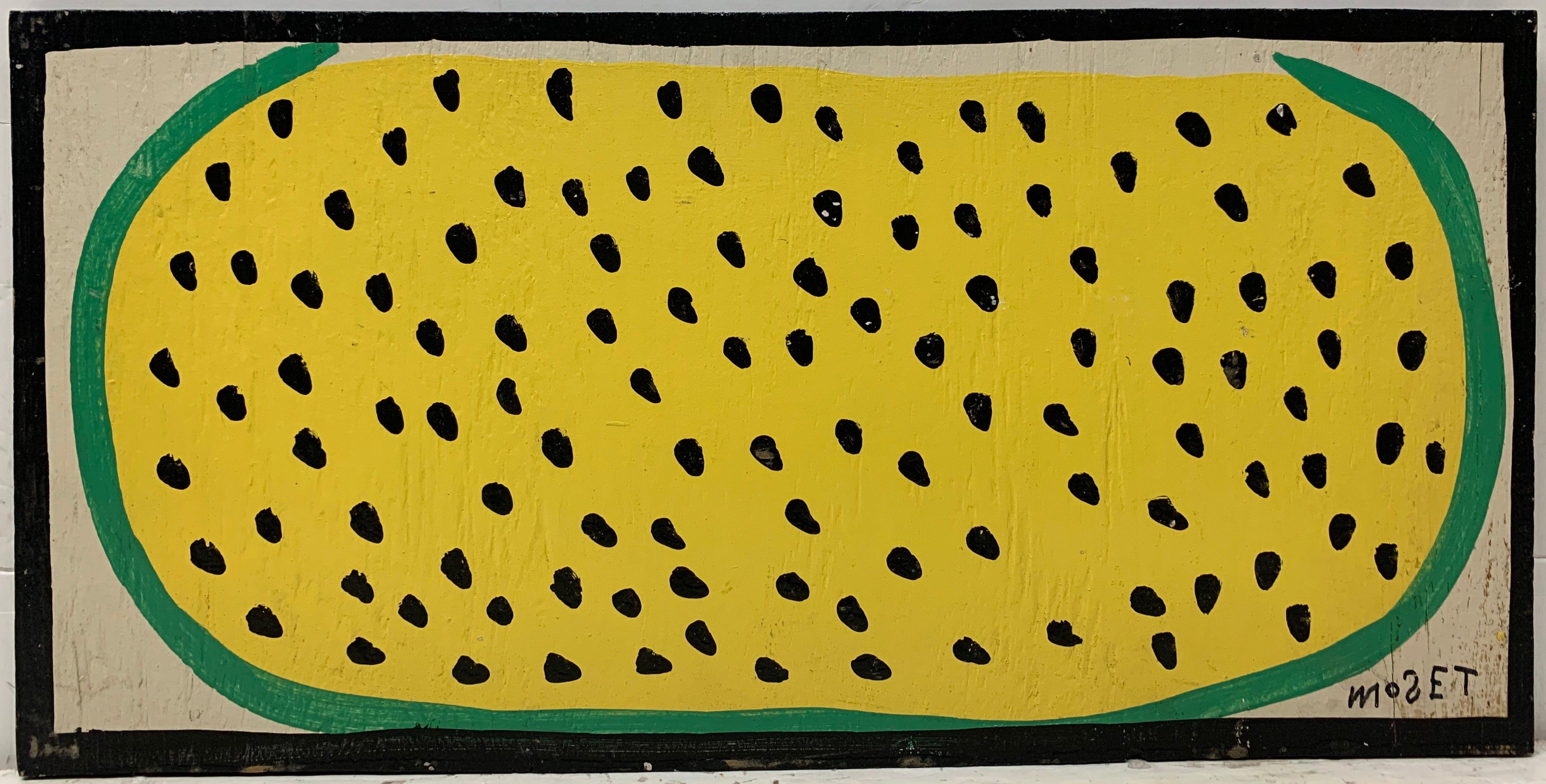 A Mose Tolliver painting of a yellow watermelon with seeds.