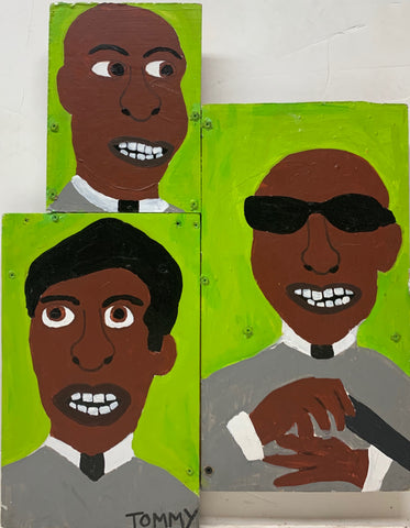 Tommy Cheng portrait of Screamin Jay Hawkins, Fats Domino, and Stevie Wonder, all painted on a lime green background.