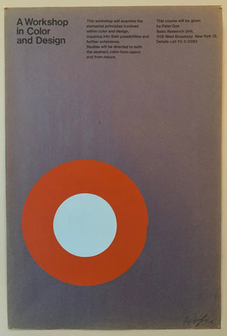 Poster for a design workshop featuring an orange and blue target