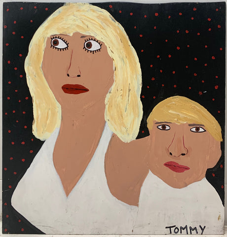 A Tommy Cheng portrait of Courtney Love and her daughter Frances Bean Cobain, both wearing white outfits against a black background with red polka-dots.