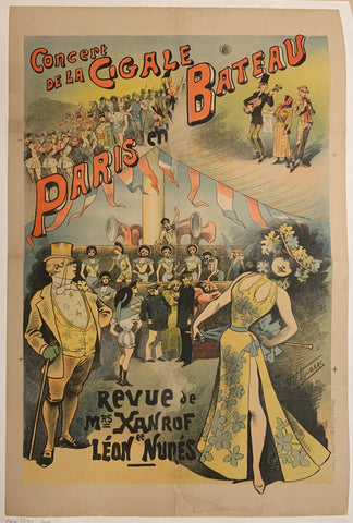Turn of the Century poster of a concert on a ship, filled with people.