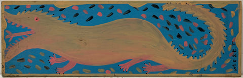 A Mose Tolliver painting of a green alligator with a pink belly.