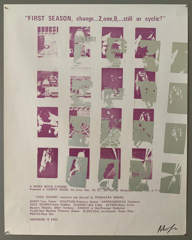 A series of squares containing scenes are shown. The text is on the top and the bottom in purple. The style of printing is pop art, where a lot of colors are put on top of each other. The colors featured are purple and silver.