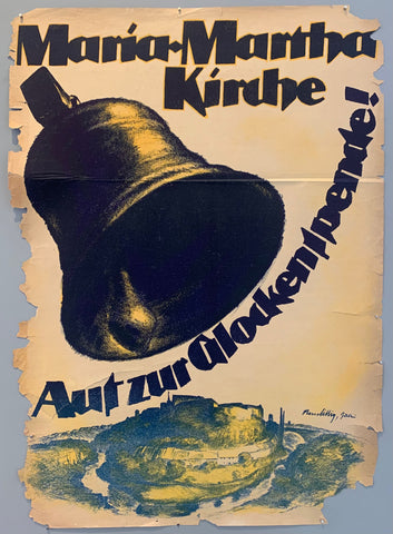 Poster advertising donations to the Maria-Martha church in Germany. A large bell is shown swinging over a town with a river curving around it.