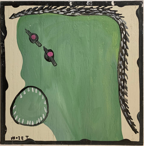 Green and Black Self Portrait Mose Tolliver Painting