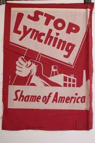 Rebel Arts Stop Lynching Shame Of America Burgundy Fabric