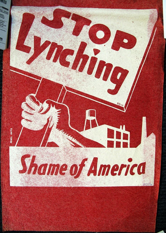 Rebel Arts Stop Lynching Shame Of America Red Felt