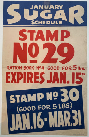 January Sugar Schedule Stamp No 29 - Poster Museum
