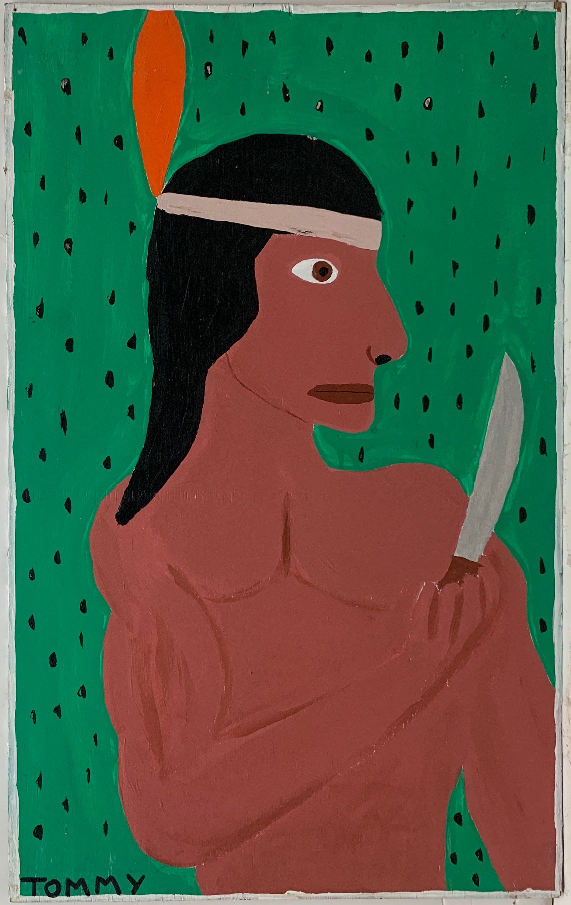 A Tommy  Cheng portrait of a Native American in profile, holding a knife, with a red feather in his hair.