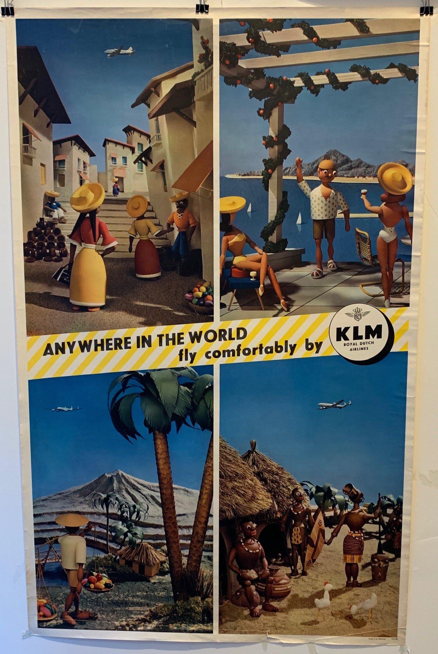Anywhere in the World fly comfortably by KLM Royal Dutch Airlines - Poster Museum