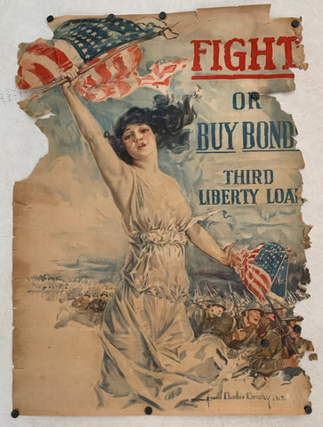 A poster featuring Lady Liberty with an American flag, American troops marching behind her