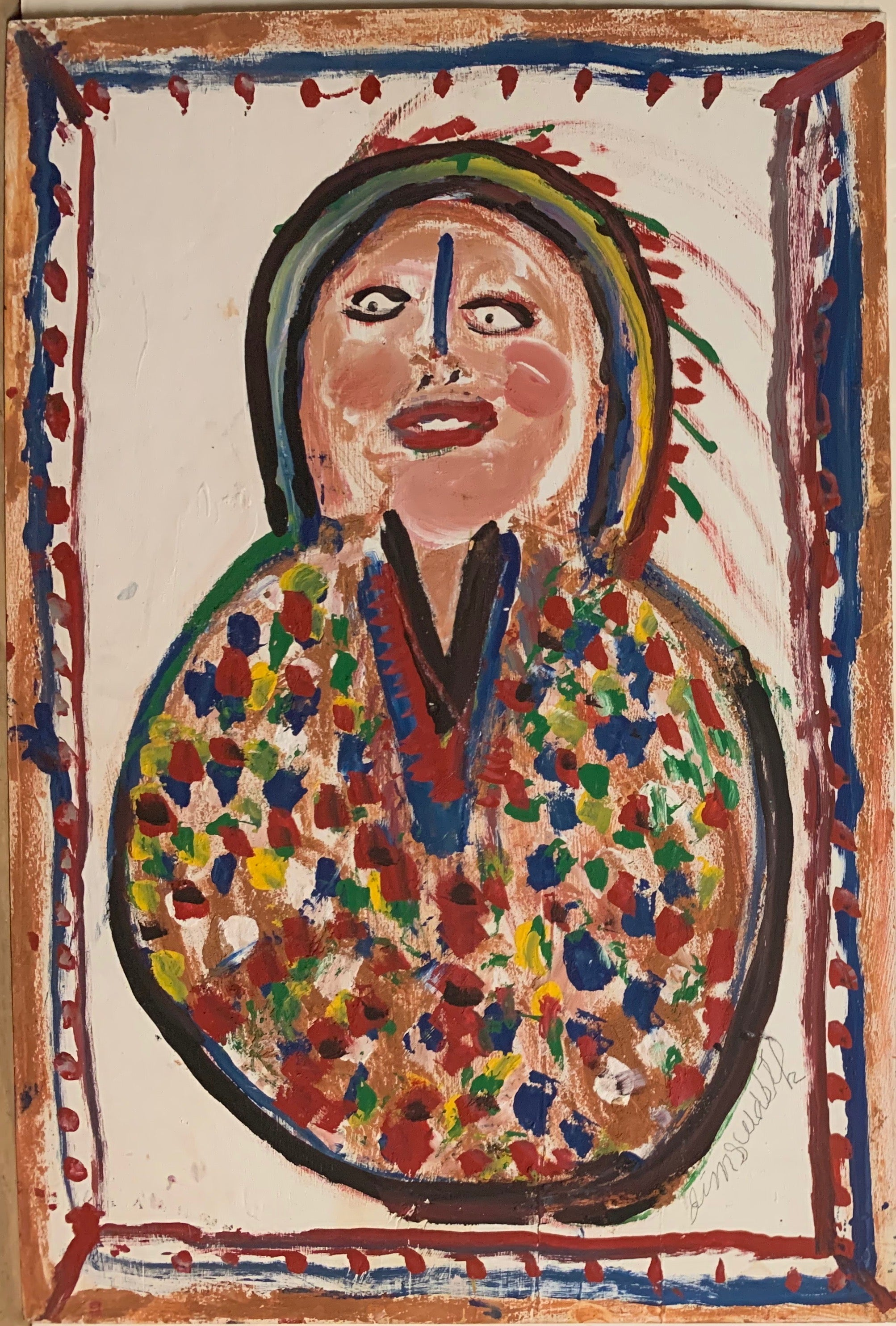 A painting of a smiling Native American.