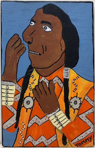 A Tommy Cheng portrait of Iron Eyes Cody in an orange outfit.