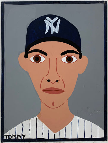 A Tommy Cheng portrait of Andy Pettite in a New York Yankees baseball hat and uniform.