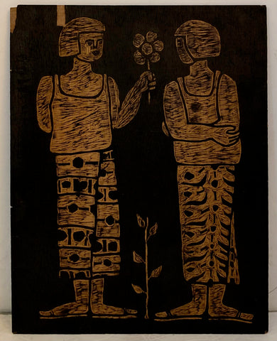 Offering Flowers and Women With Disk, Double-Sided Woodblock