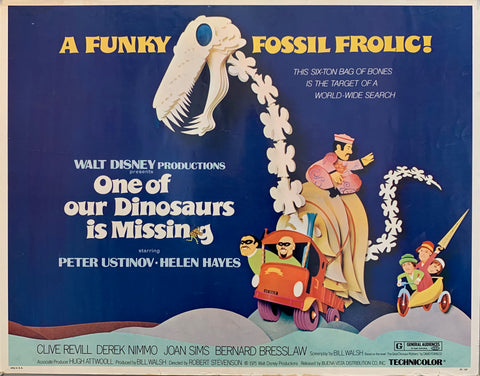 disney movie poster showing dinosaur bones blue background men on a train and a man on the dinosaur
