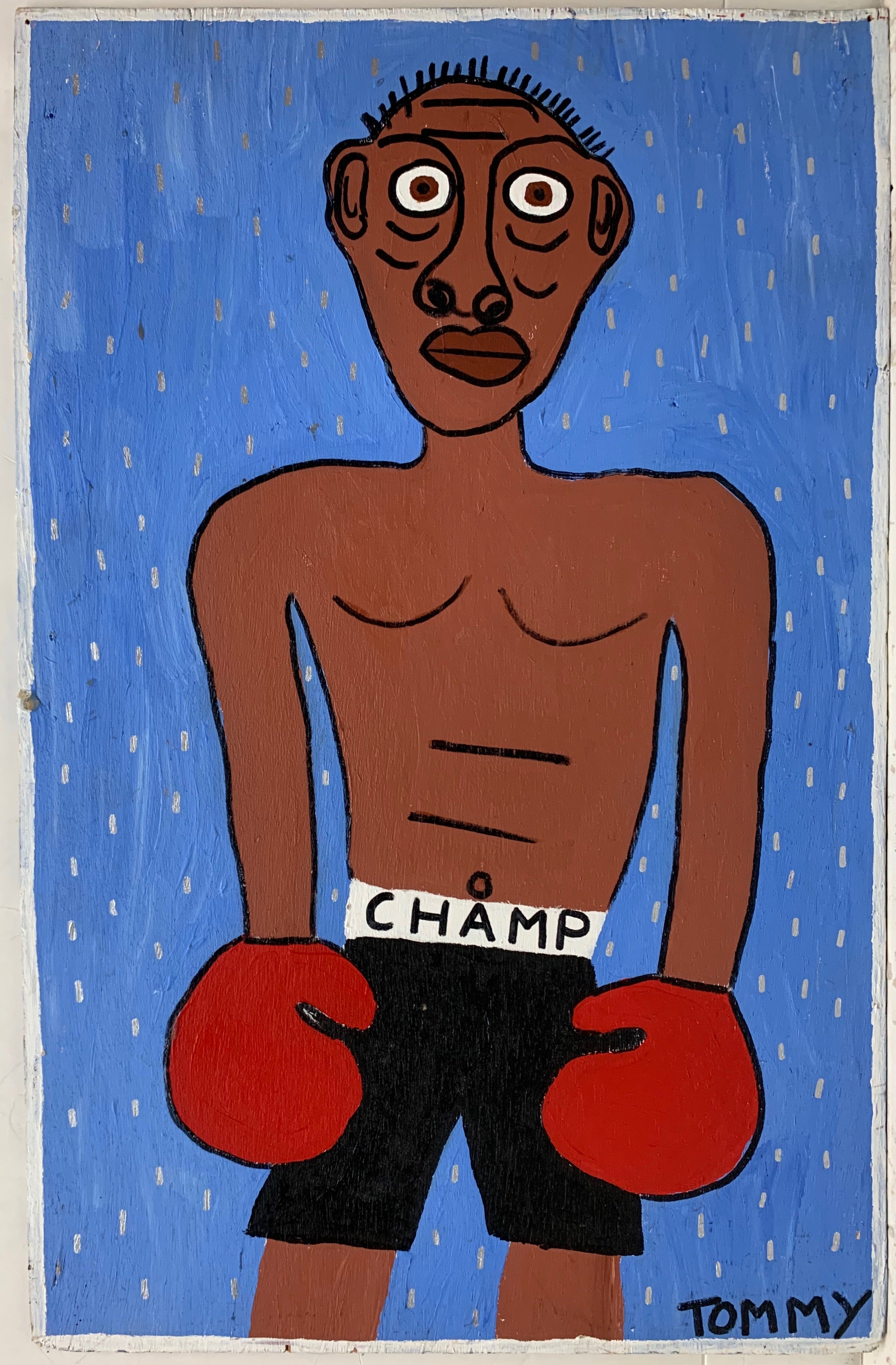 "A Tommy Cheng portrait of a boxer with red gloves and black shorts labeled ""Champ."""