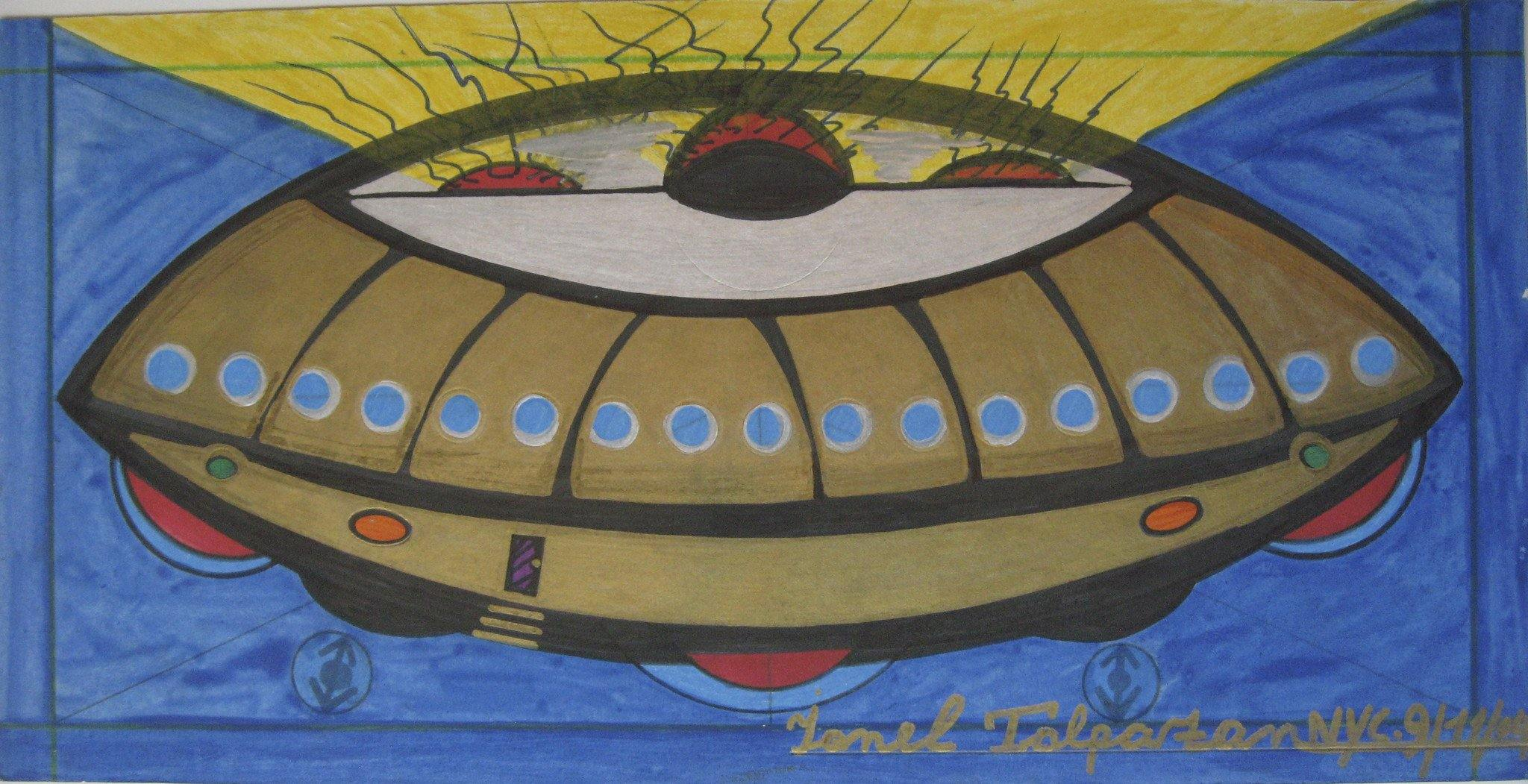 Golden UFO Exterior, yellow beams