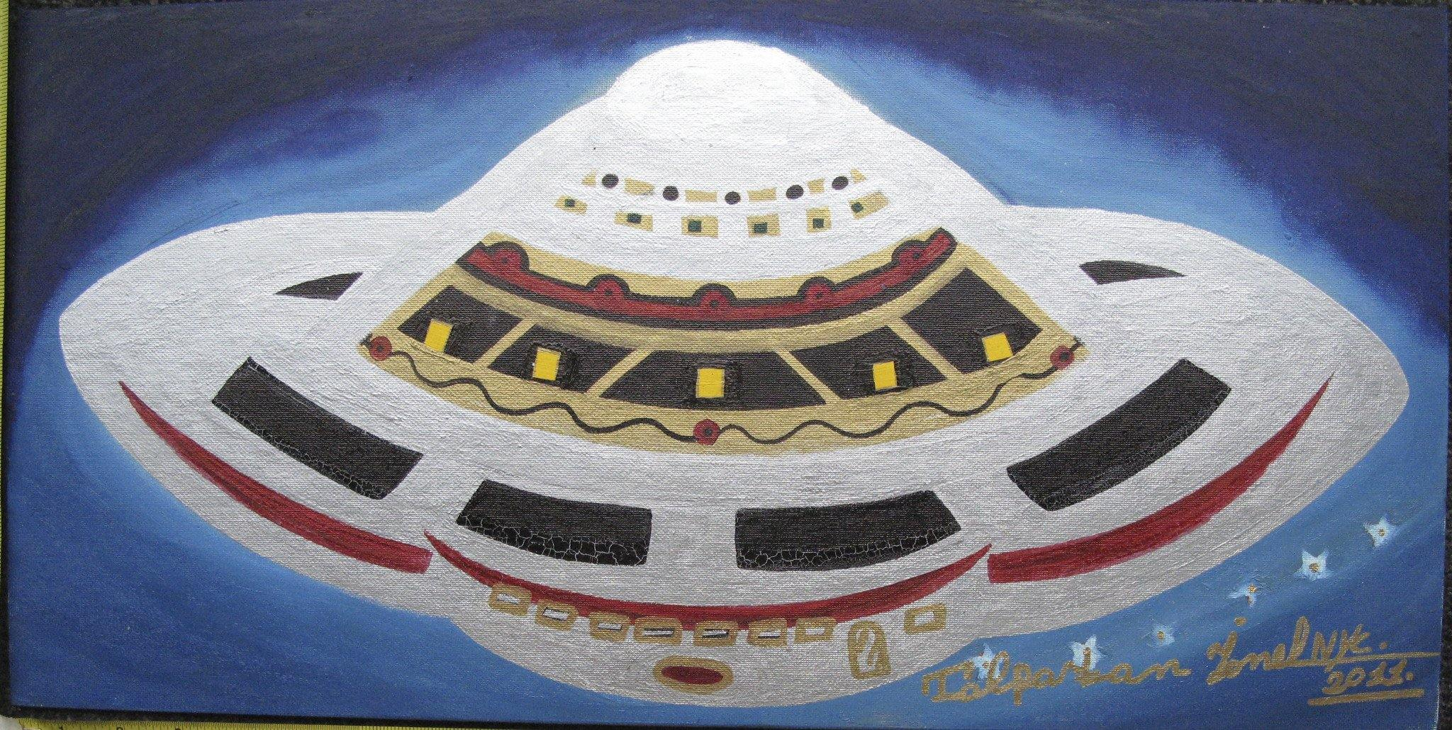 Ionel Talpazon painting, White UFO