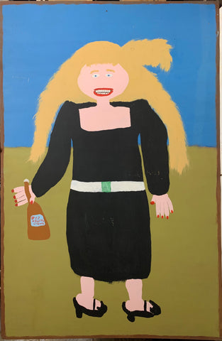 Jake McCord painting of a blond woman holding a bottle of alcohol.