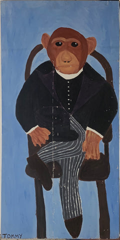 A Tommy Cheng painting of a chimpanzee in a suit sitting on a chair.