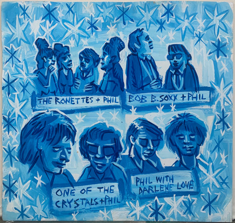 A Steve Keene painting of 60s bands and singers The Ronettes, Bob B. Soxx, The Crystals, and Darlene Love with their producer Phil Spector.