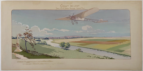 Poster of an airplane over the French countryside