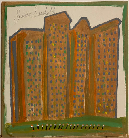 Dotted Buildings #137, Jimmie Lee Sudduth Painting