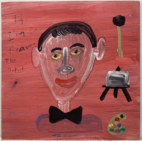 A self-portrait by the Beaver wearing a bowtie and with an easel and palette.