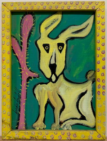 A Brian Dowdall painting of a yellow bunny rabbit next to a pink cactus with yellow spines.