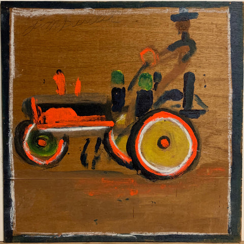A painting of a farmer driving a neon orange tractor.