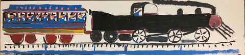 Black and Blue Train #05, Jimmie Lee Sudduth Painting