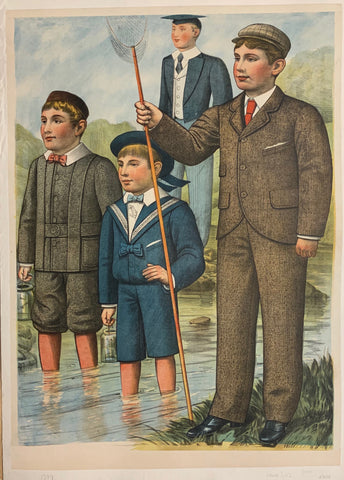 Turn of the Century poster of four schoolboys fishing at a river.