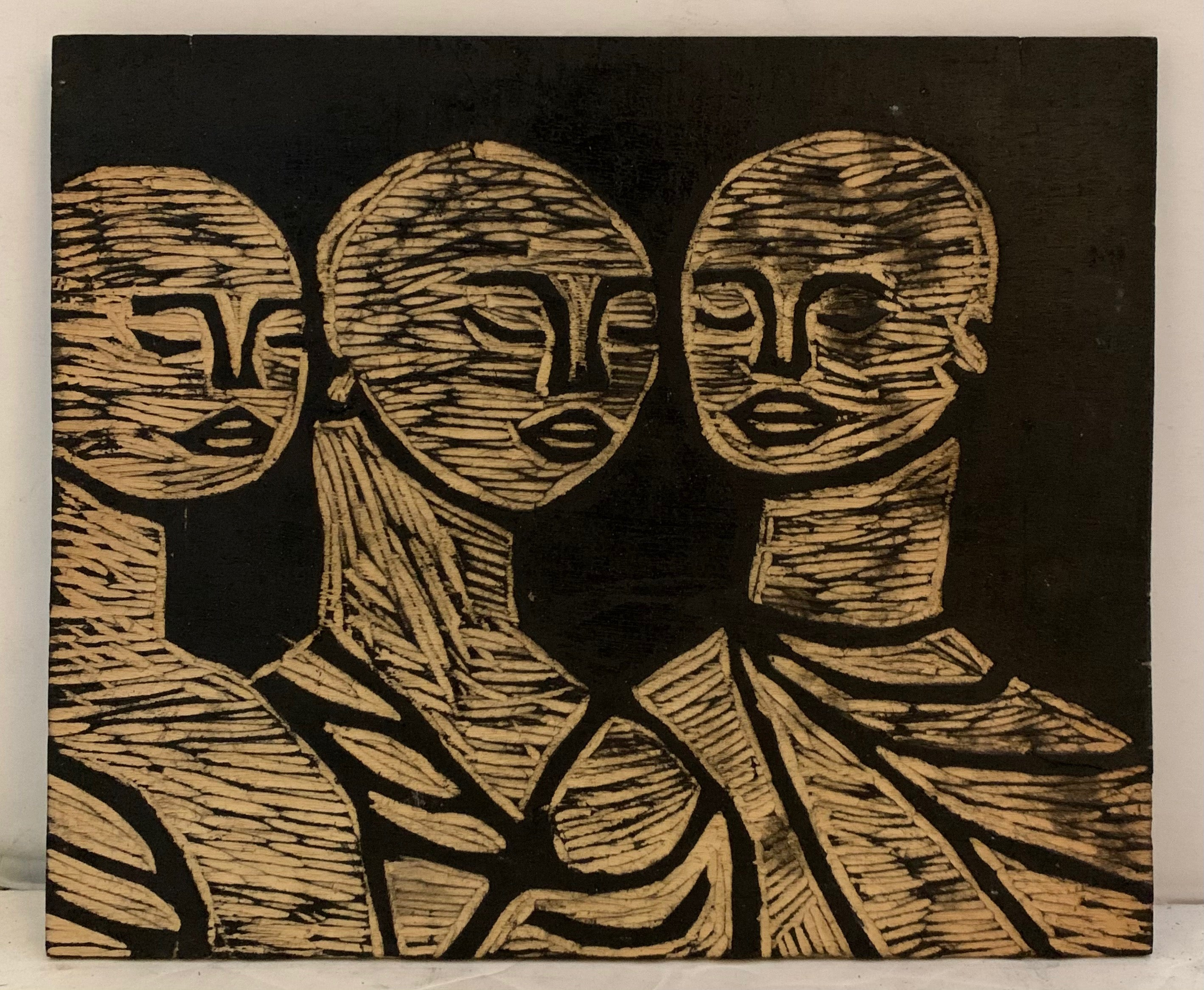 Woodblock of three monks