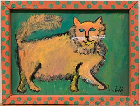 A Brian Dowdall painting of a fluffy cat prancing against a green background.